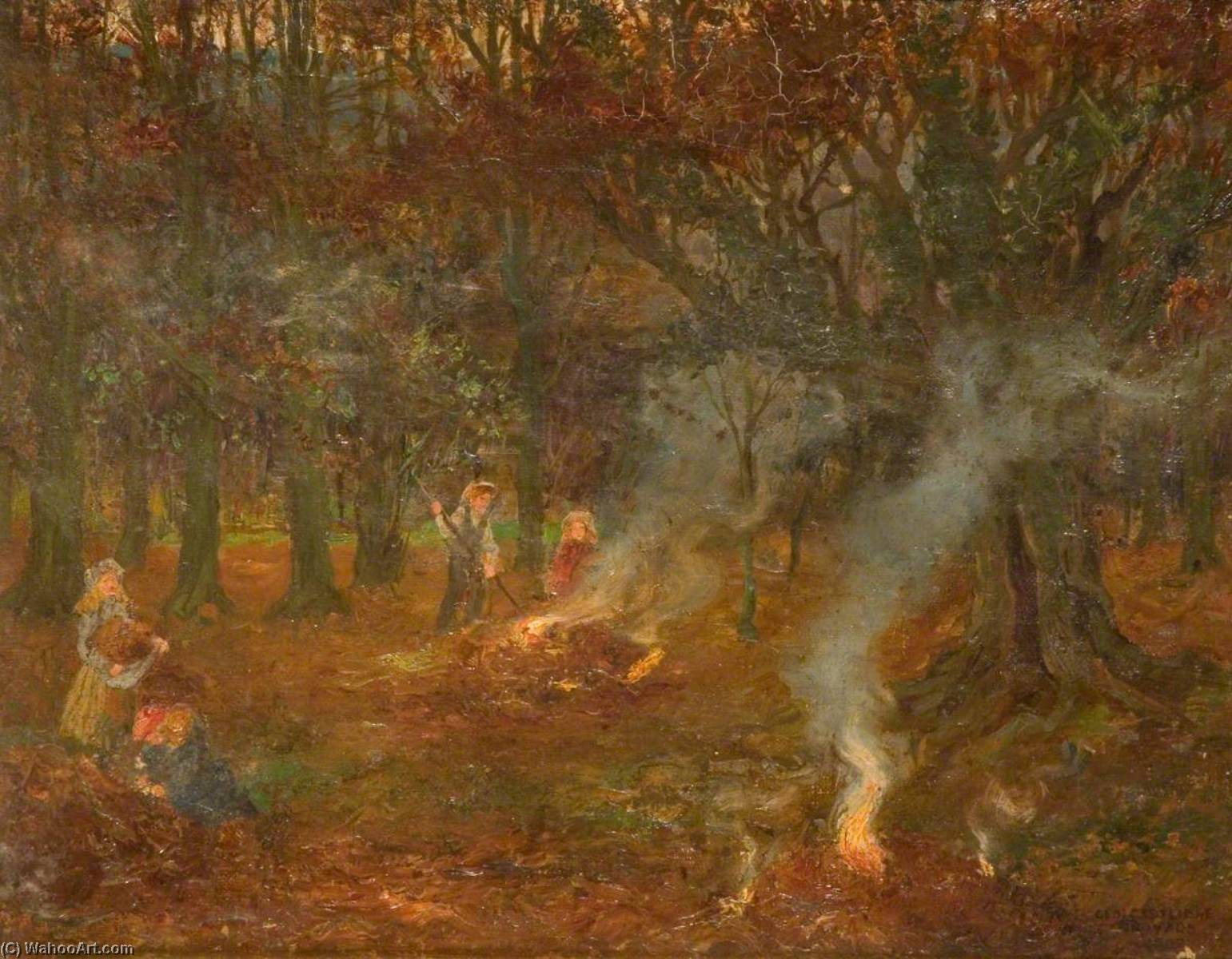 Burning Autumn Leaves, 1902 by George Cartlidge | Art Reproduction | WahooArt.com