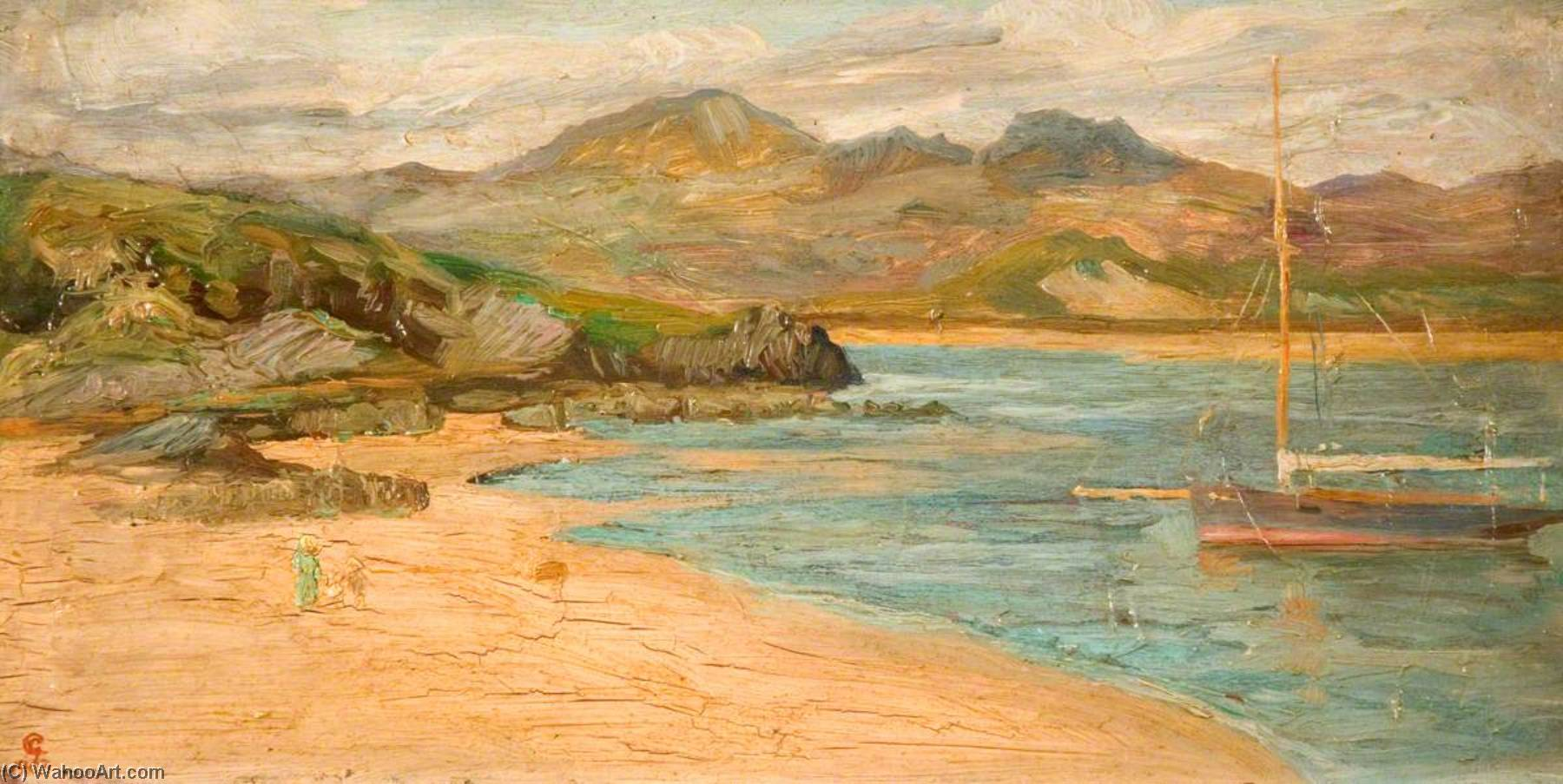 Borth y Gest, Oil On Panel by George Cartlidge