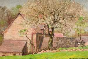 George Cartlidge - A Cherry Tree in May, New House in Horton