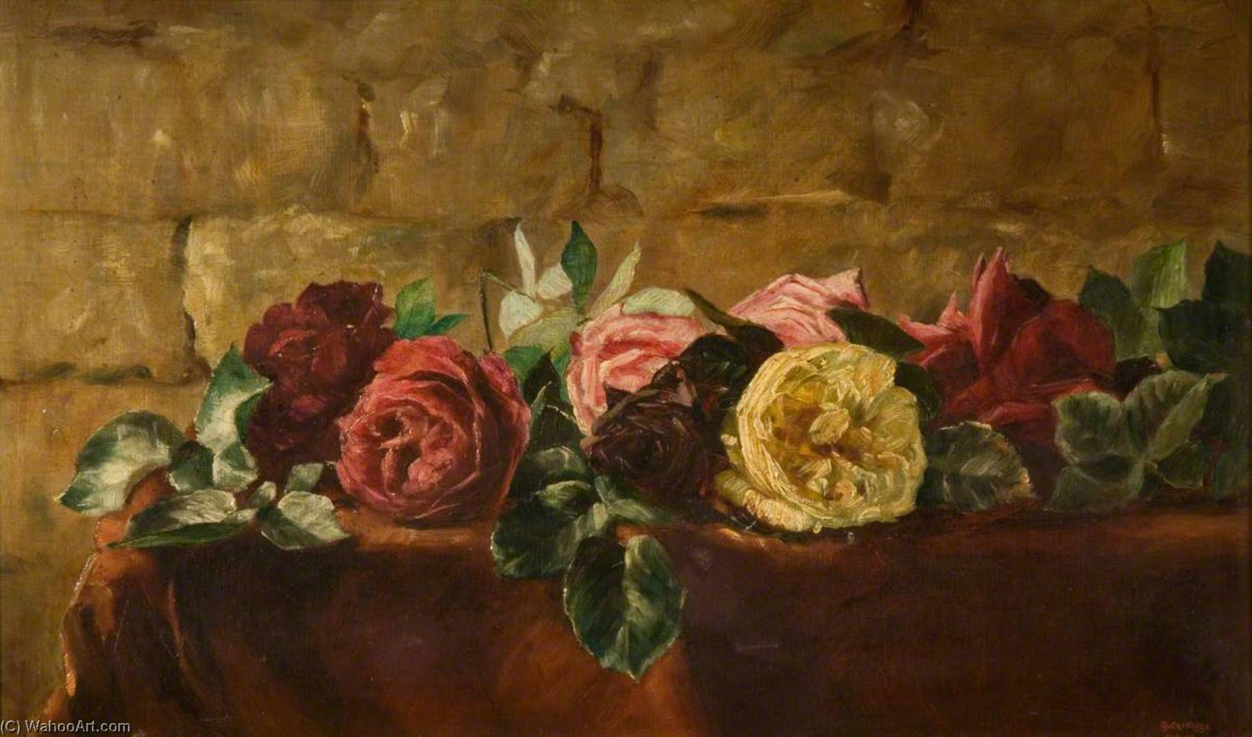 Roses, Oil On Canvas by George Cartlidge