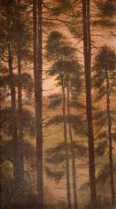 George Cartlidge - Moon through Fir Trees, Rudyard