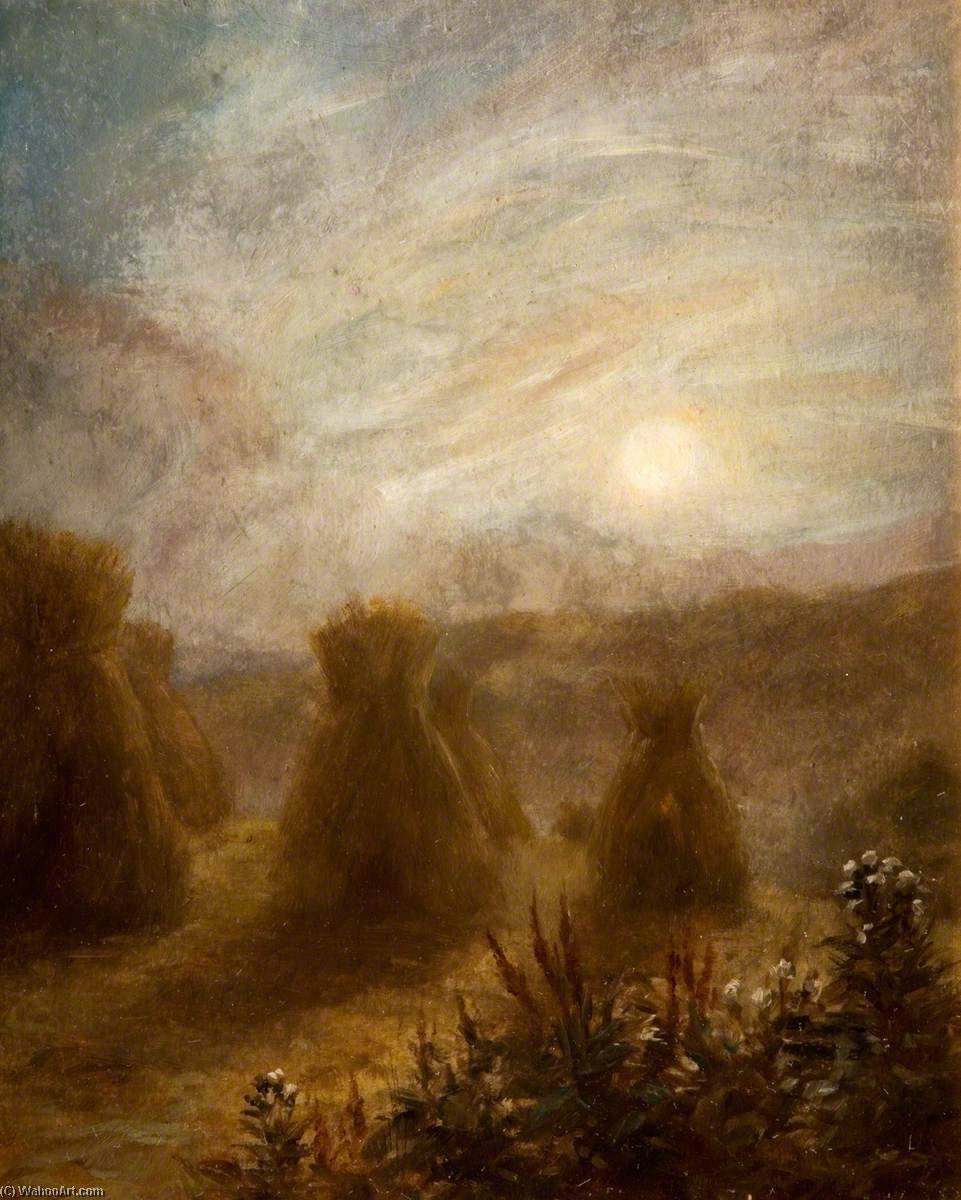 Moon Rising over a Field of Corn Stooks by George Cartlidge | Museum Quality Reproductions | WahooArt.com