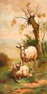 George Cartlidge - Two Goats in a Field by a Tree