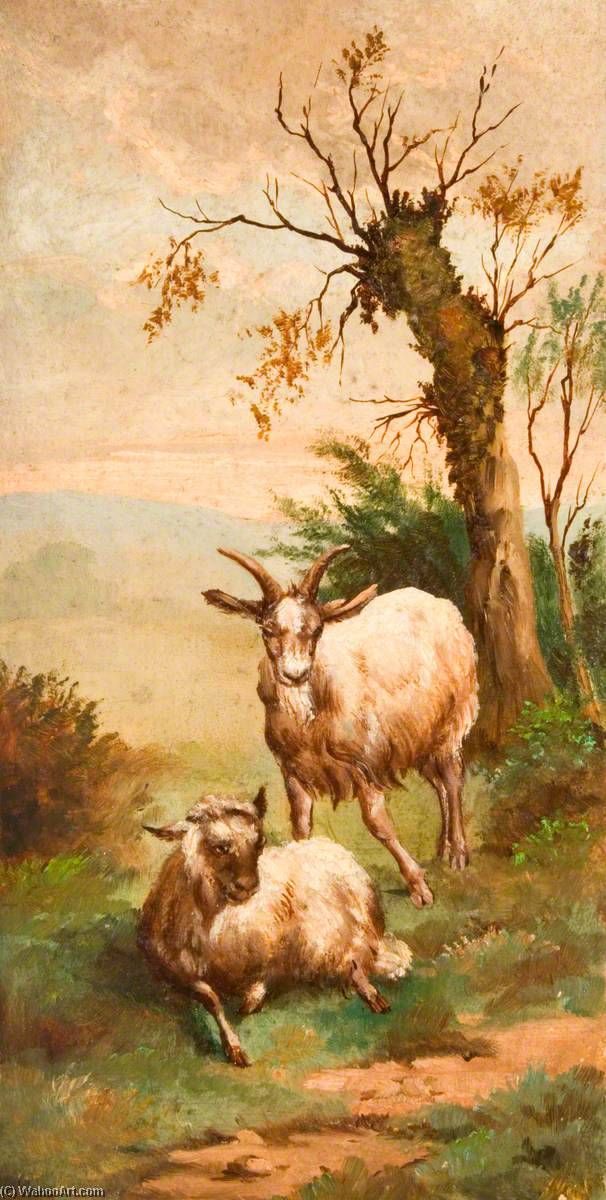 Two Goats in a Field by a Tree, Oil by George Cartlidge