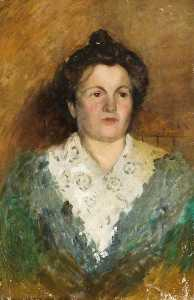 Albert Ranney Chewett - Portrait of a Woman in a Green Dress with a Lace Collar