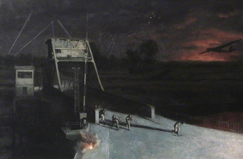 Glider Borne Landing and the Capture of Bénouville Bridge, Normandy, France, by the 2nd Battalion (52nd) of the Oxfordshire Buckinghamshire Light Infantry, the First Formed Body of British Troops to Reach Normandy on D Day, 0016Hrs, 6 June 1944, Oil On Canvas by Norman Hepple