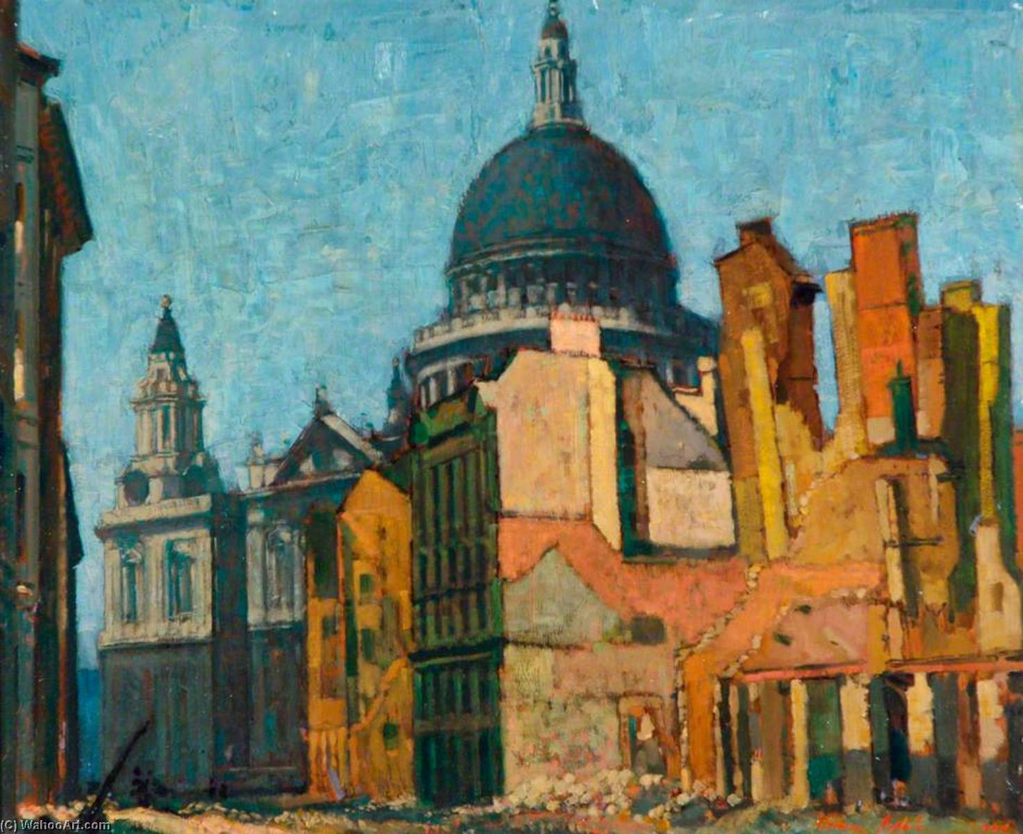 St Paul's and Cannon Street, May, Oil On Canvas by Norman Hepple