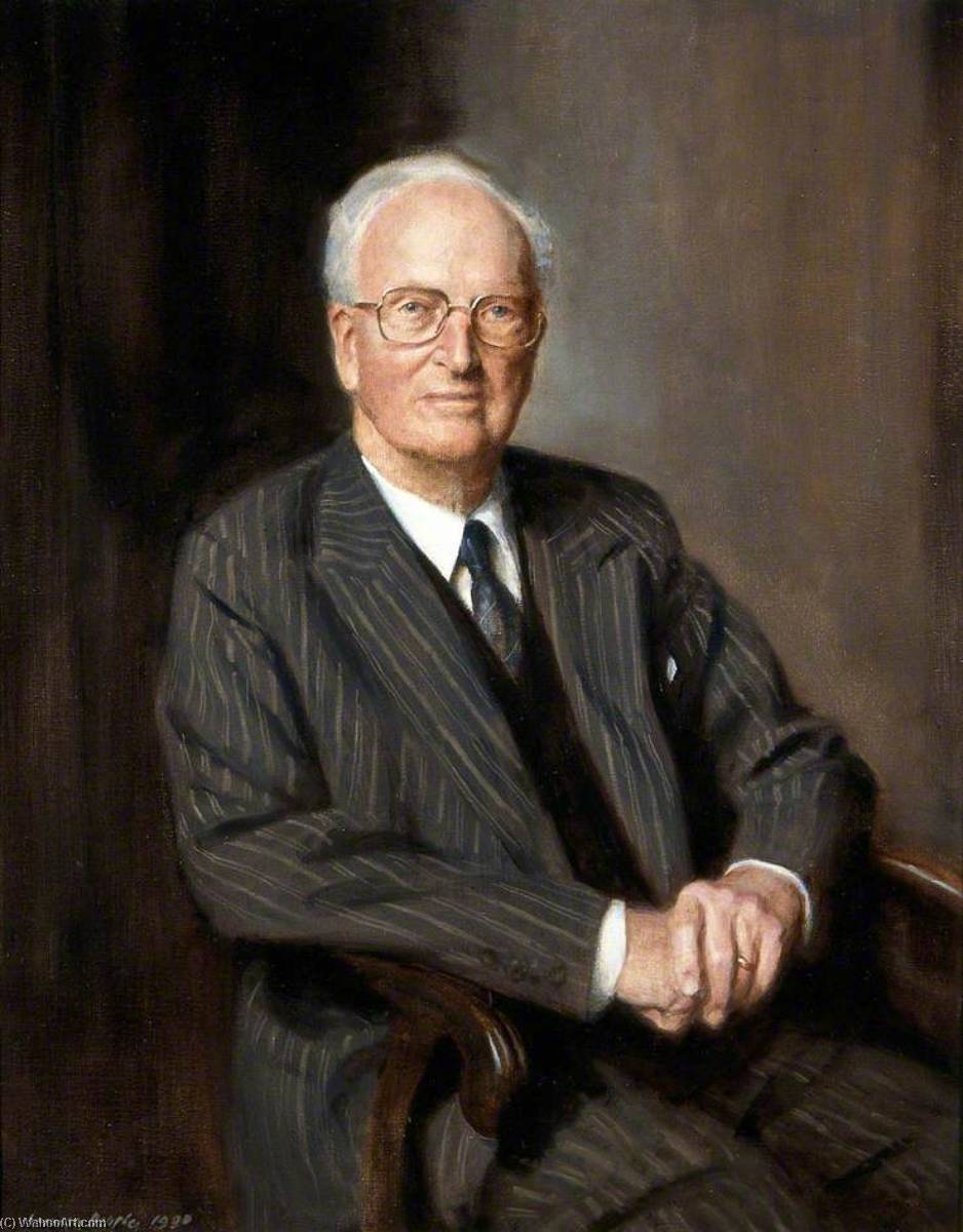 Oliver Shewell Franks (1905–1992), Baron Franks of Headington, 1990 by Norman Hepple | Famous Paintings Reproductions | WahooArt.com