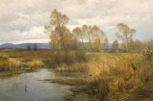Frederick William Newton Whitehead - The Purbeck Hills from the River Frome, Dorset