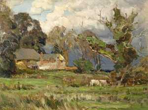 Frederick William Newton Whitehead - Cottage in Landscape