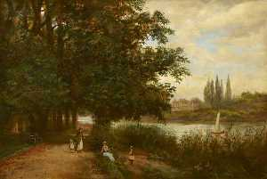 James Isaiah Lewis - Syon House Seen across the Thames from Kew Riverbank