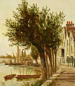 James Isaiah Lewis - Strand on the Green, Looking at the Second Kew Bridge