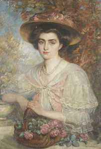 John Dalzell Kenworthy - Portrait of a Lady with a Basket of Roses