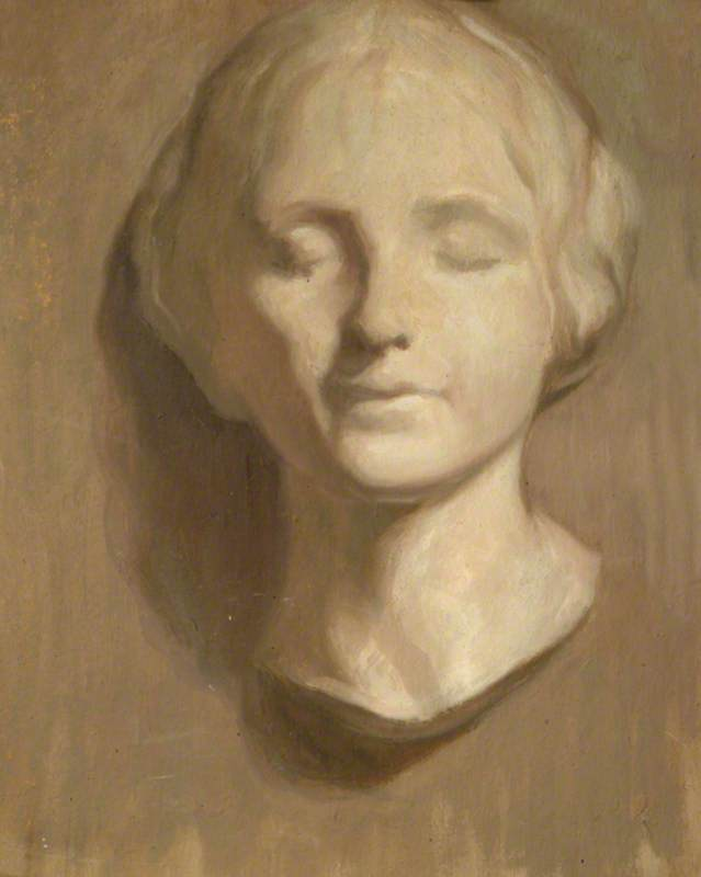 Study of Female Head Grisaille (verso), Oil by Percy Harland Fisher