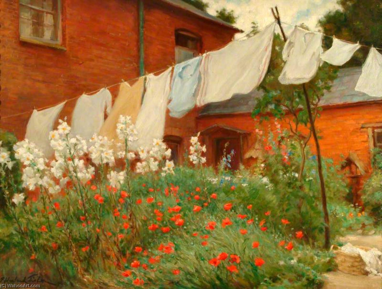 Washing on the Line, Oil On Canvas by Percy Harland Fisher