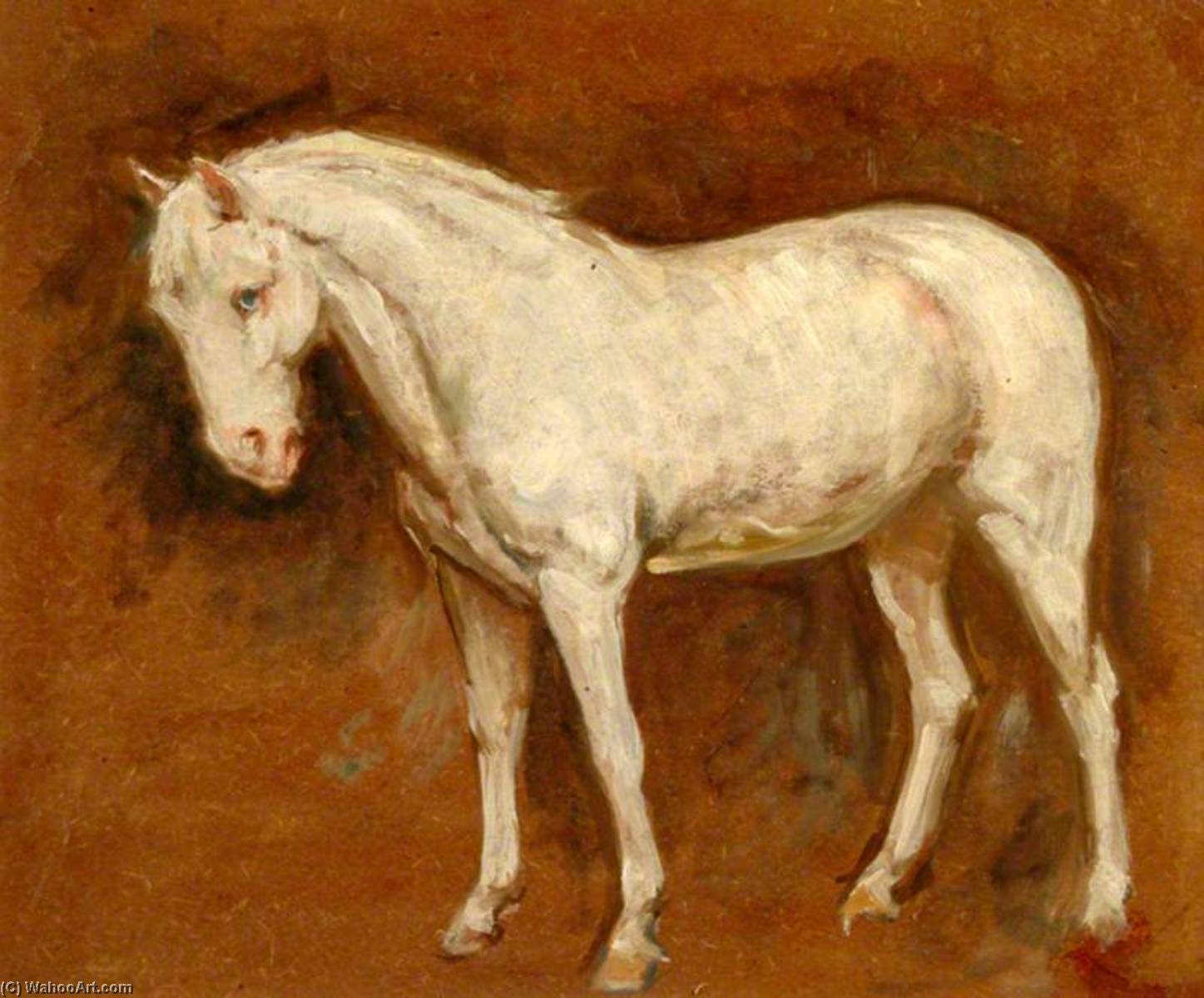 The Grey Horse (recto), Oil by Percy Harland Fisher