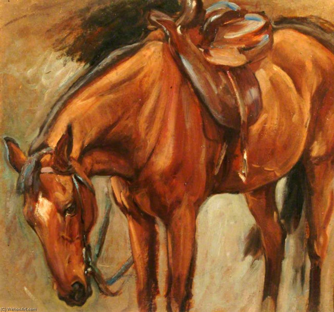 Chestnut Horse ('Cookie' the Hunter) (recto), Oil by Percy Harland Fisher