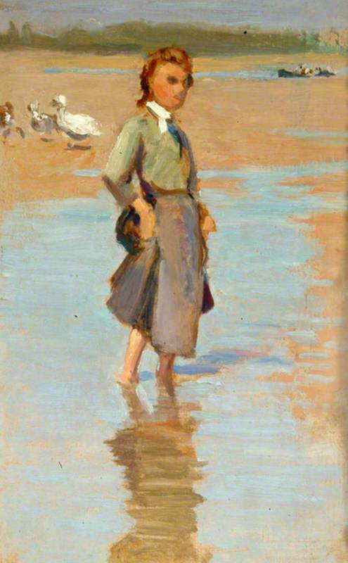Paddling, Oil by Percy Harland Fisher