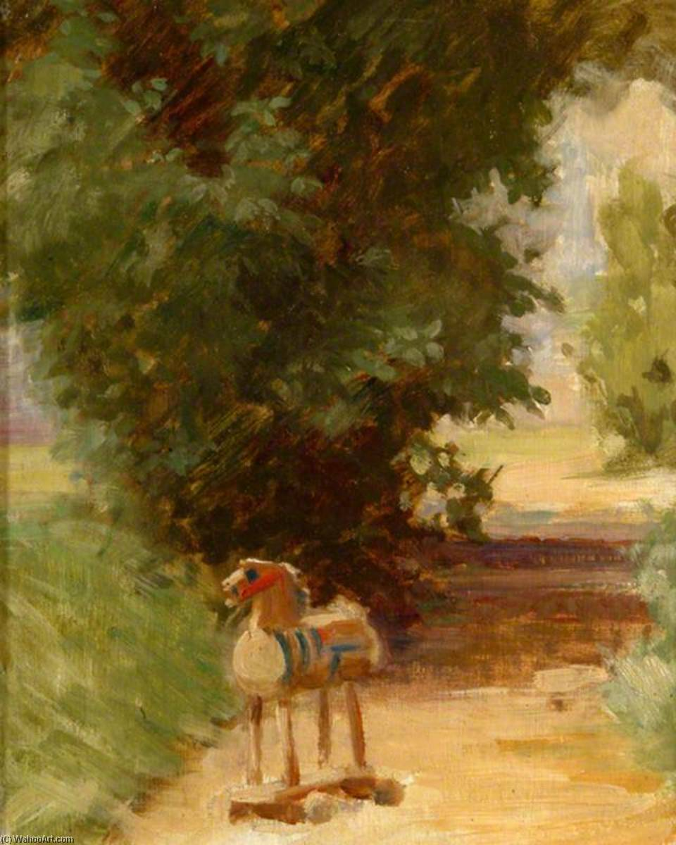 Dobbin on the Path (The Wooden Horse), Oil On Panel by Percy Harland Fisher