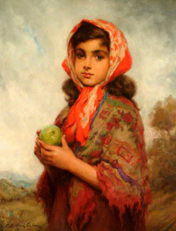 Temptation (The Gypsy Girl), Oil On Canvas by Percy Harland Fisher