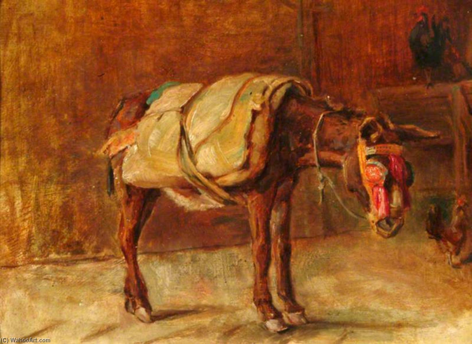 The Italian Donkey, Oil by Percy Harland Fisher