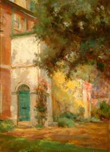 Porch, Side of House and Tree, Oil by Percy Harland Fisher (order Fine Art Framed Giclee Percy Harland Fisher)