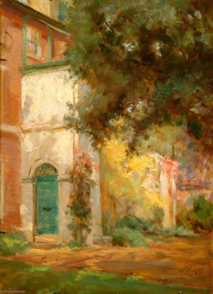 Porch, Side of House and Tree, Oil by Percy Harland Fisher