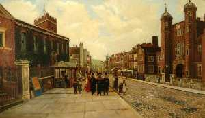 George Willis Pryce - High Street, Guildford, Looking West, with a View of Holy Trinity Church
