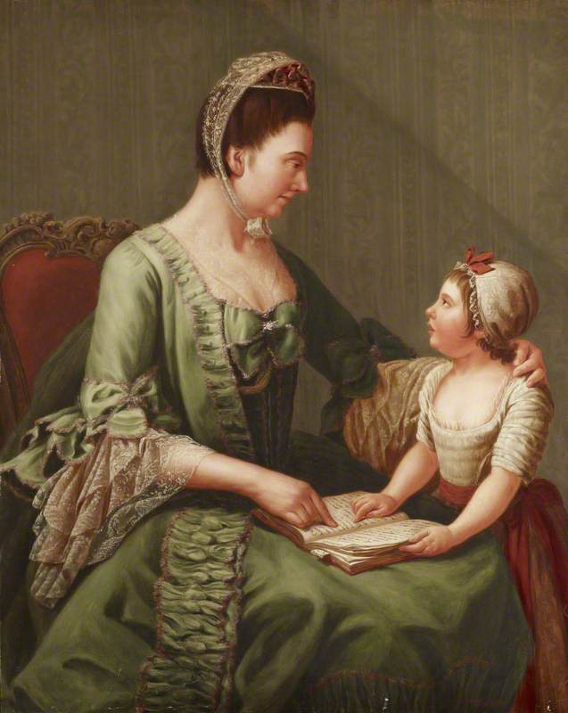 Elizabeth Davers (1730–1800), Countess of Bristol, and Her Daughter Lady Louisa Theodosia Hervey (1770–1821), Later Countess of Liverpool (after Antonio de Bittio), 1909 by Dorofield Hardy | Reproductions Dorofield Hardy | WahooArt.com