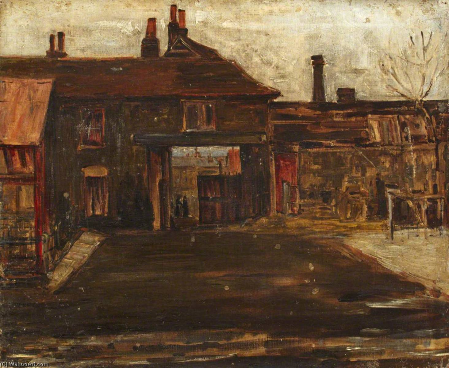 An Uxbridge Yard, Oil On Canvas by Maud Ireland Button