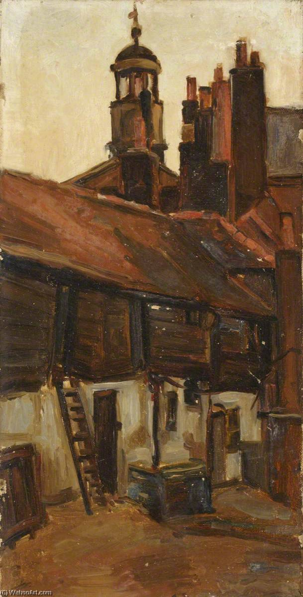 Bell Yard, Uxbridge, Oil On Canvas by Maud Ireland Button