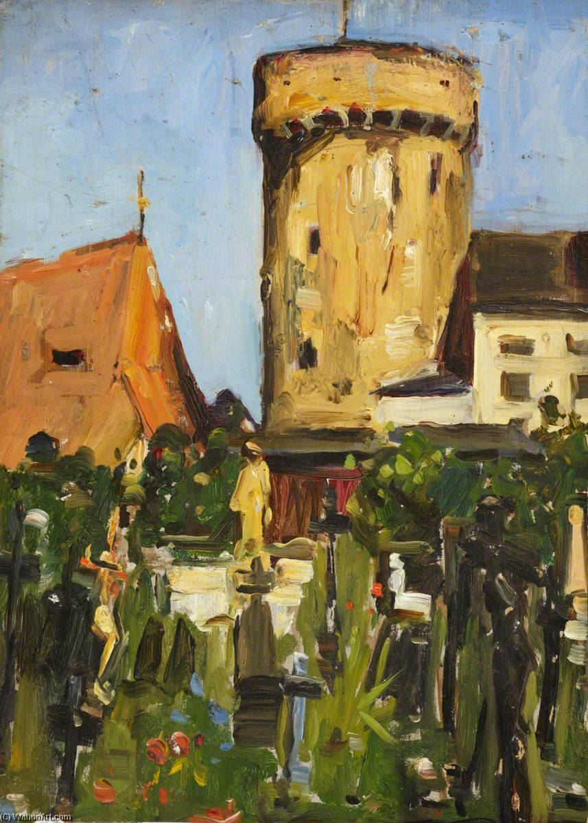 Church Tower, Oil by Maud Ireland Button
