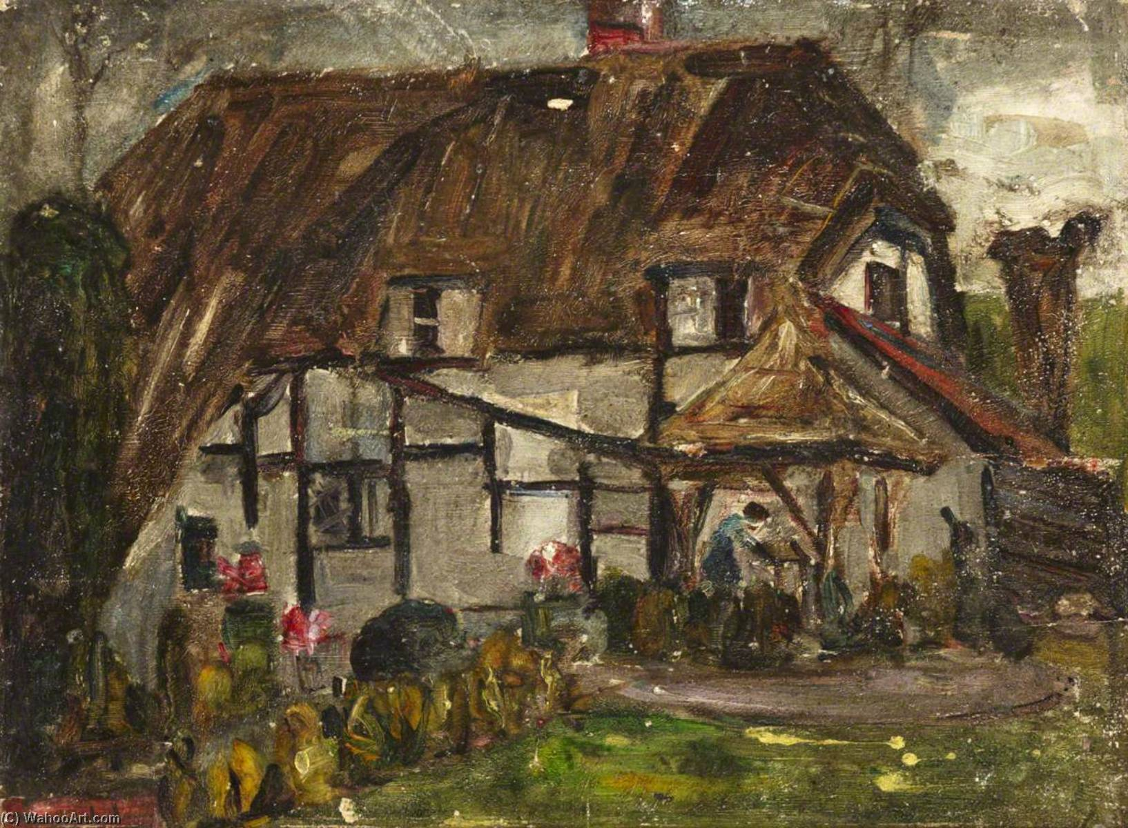 Rustic Country Home, Oil by Maud Ireland Button