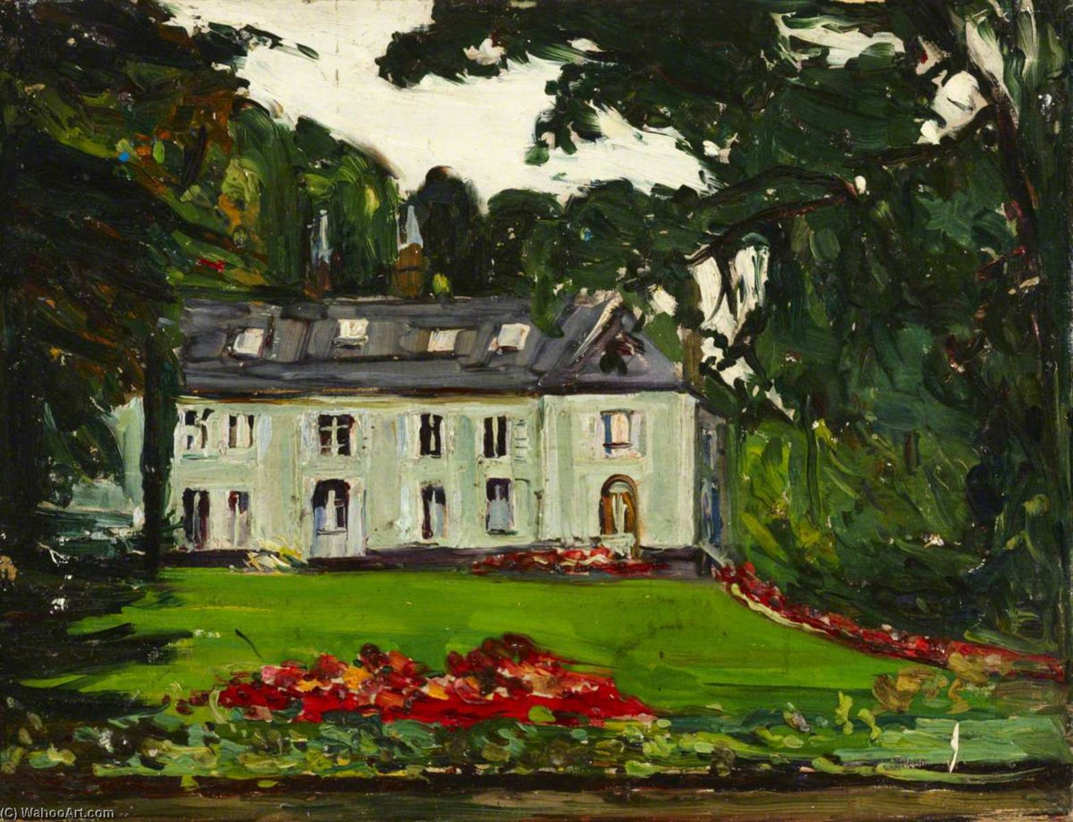 Country House, Oil by Maud Ireland Button