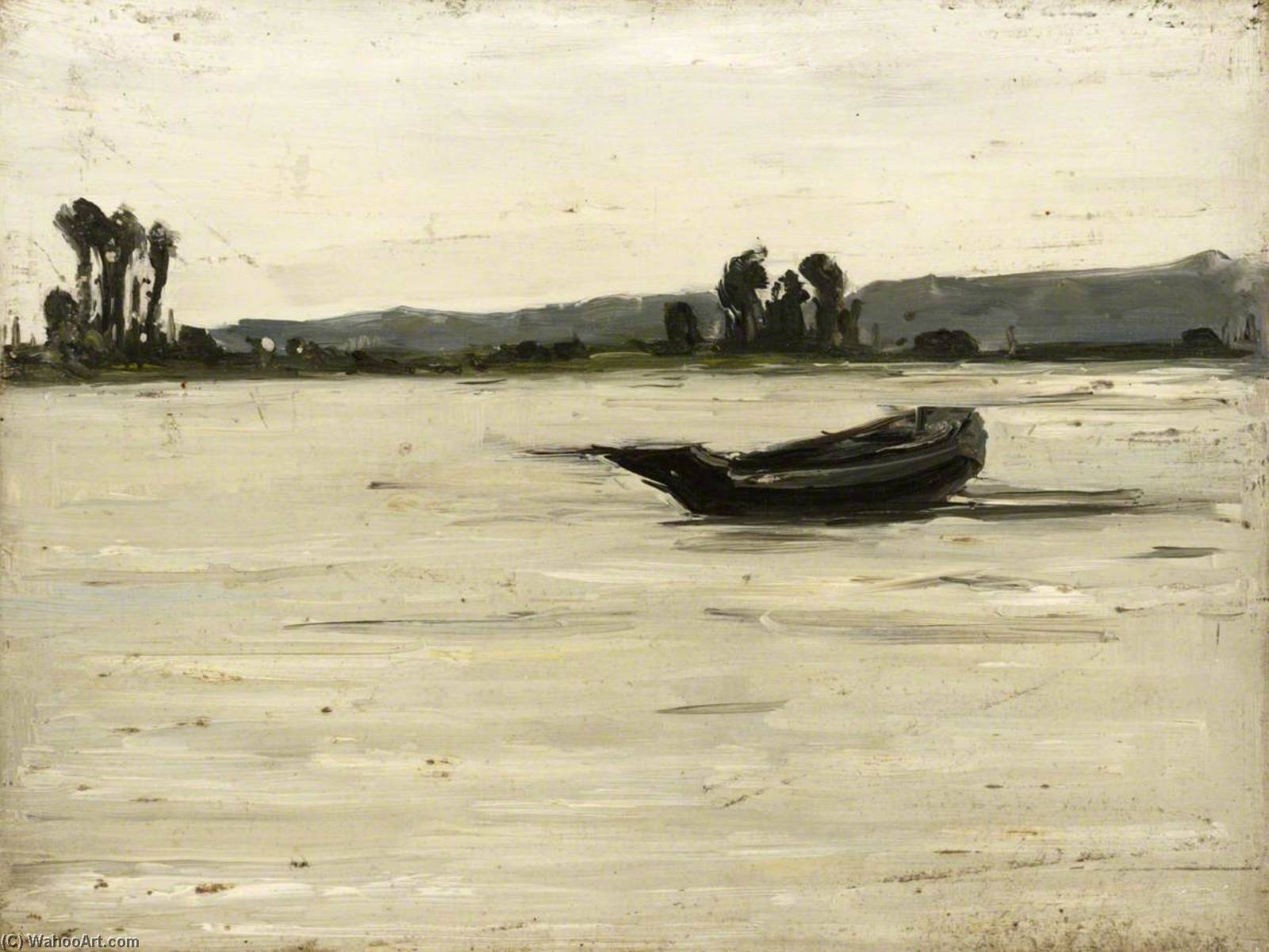 Boat on River, 1921 by Maud Ireland Button | Painting Copy | WahooArt.com