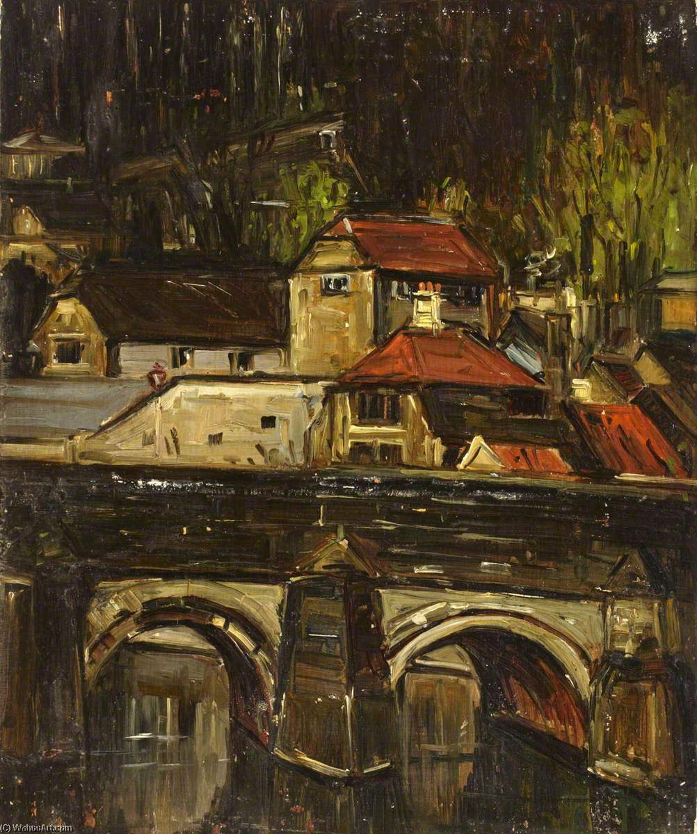 Bridge over a River, Oil On Canvas by Maud Ireland Button