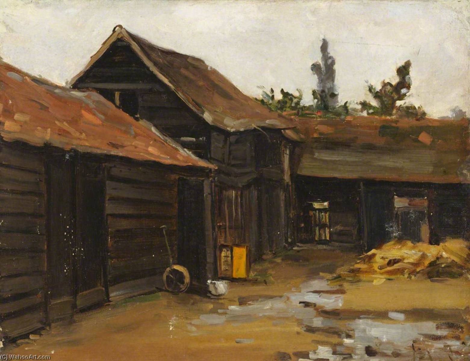 Farmyard, Oil On Canvas by Maud Ireland Button