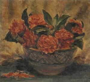Patti Mayor - A Bowl Filled with Red Flowers