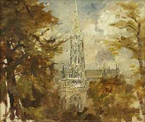 Francis Abel William Taylor Armstrong - A Cathedral Seen between Trees (possibly Salisbury)