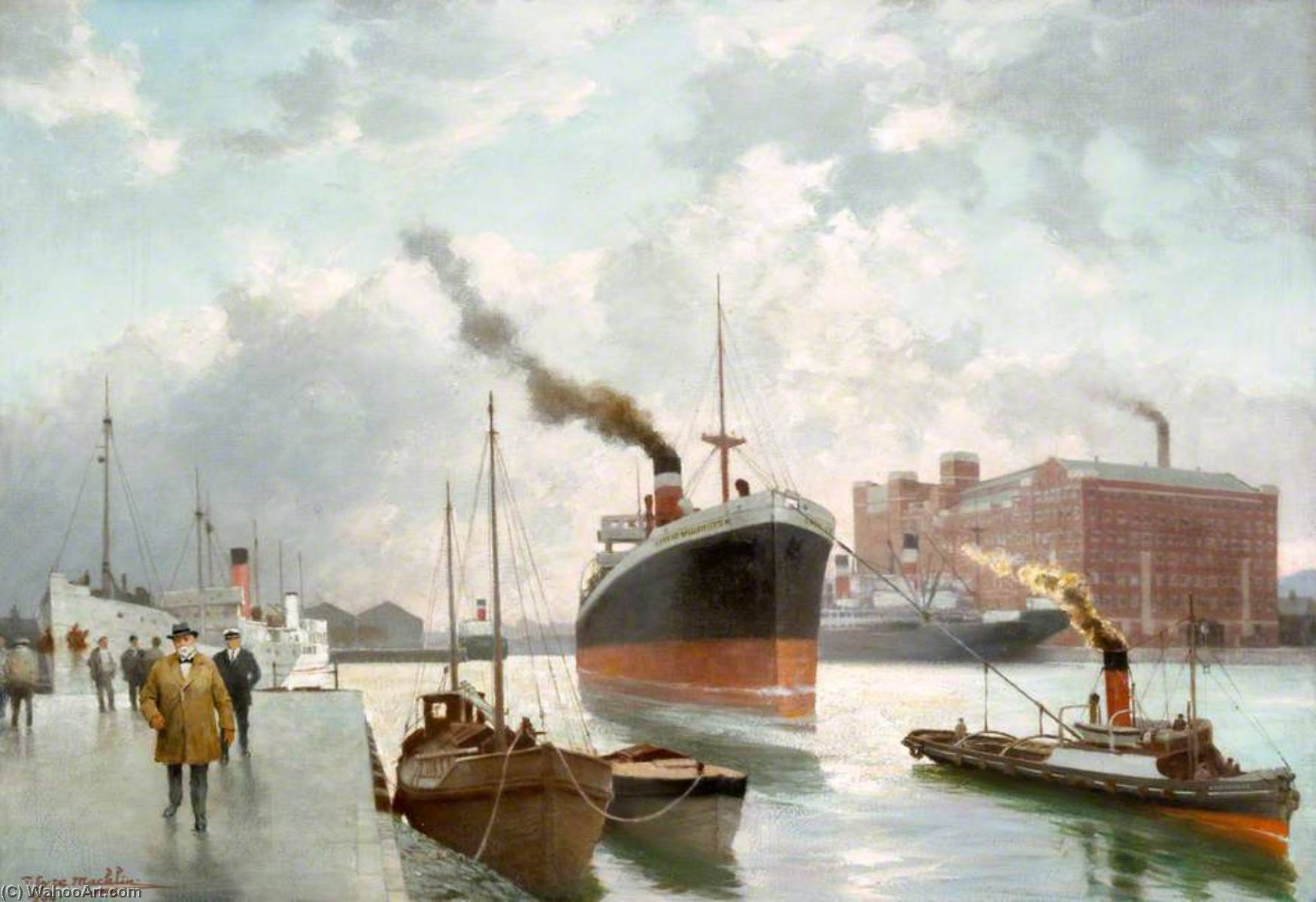 Pollock Dock, The Steamer `City of Wellington` Being Tugged, 1934 by Thomas Eyre Macklin | Famous Paintings Reproductions | WahooArt.com