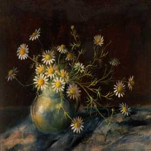 Rosalie Chichester - Still Life of Long Stemmed Daisies in a Vase