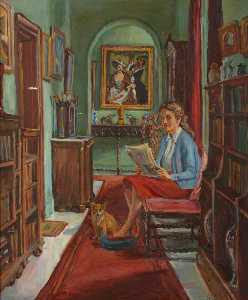 Marie Louise Roosevelt Pierrepont - Cliffe Castle Interior ( ), with a Seated Girl and Dog