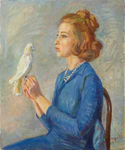 Marie Louise Roosevelt Pierrepont - Portrait of a Young Woman with a Bird