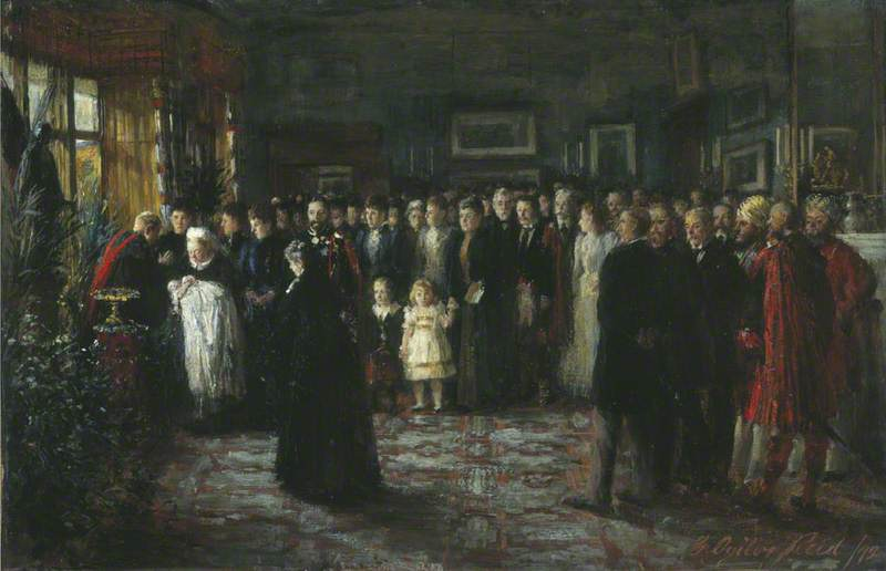 The Baptism of Prince Maurice of Battenberg, Oil On Canvas by George Ogilvy Reid