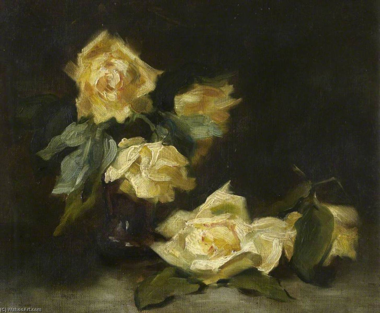Roses, Oil On Canvas by George Ogilvy Reid