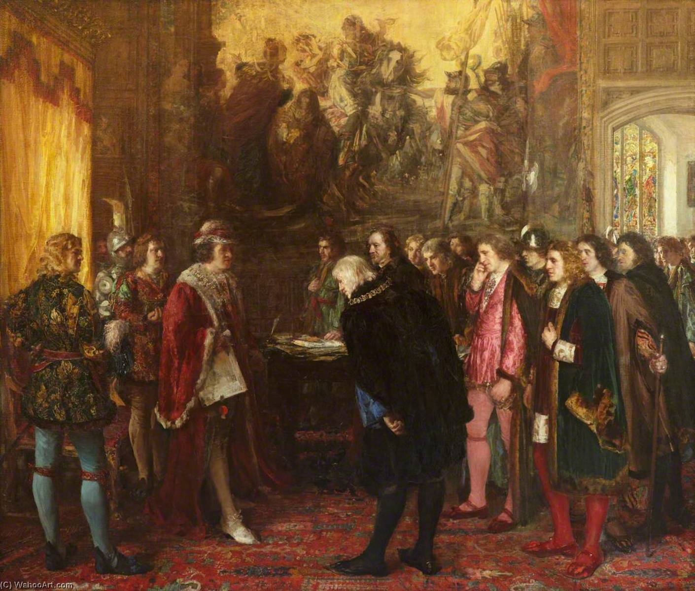 The Granting of a Royal Charter by King James III to the Provost, Bailies and Councillors of the Burgh of Edinburgh in the Year 1482, Oil On Canvas by George Ogilvy Reid