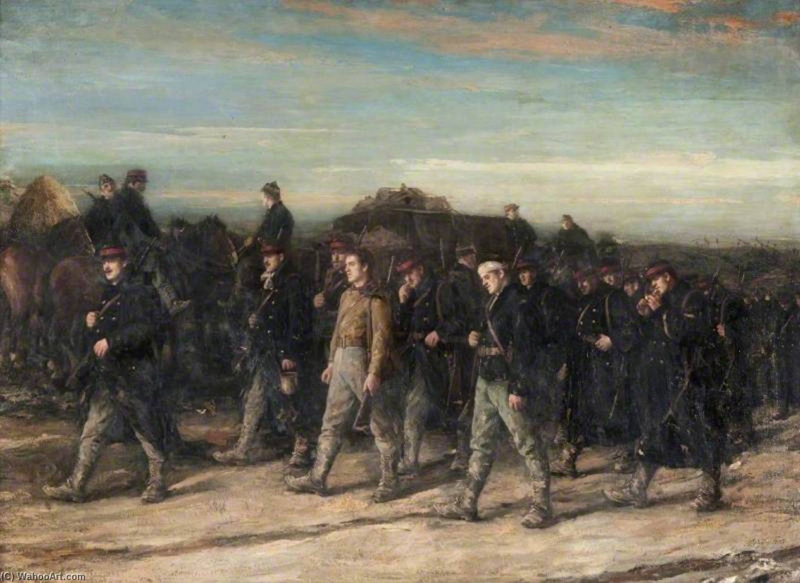 1914 The Belgians on the March, Oil On Canvas by George Ogilvy Reid