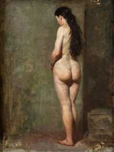 George Ogilvy Reid - Standing Female Nude with Long Brown Hair
