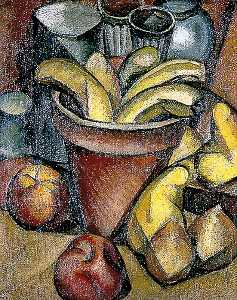 Jean Hippolyte Marchand - Still Life with Fruit and a Flower Pot