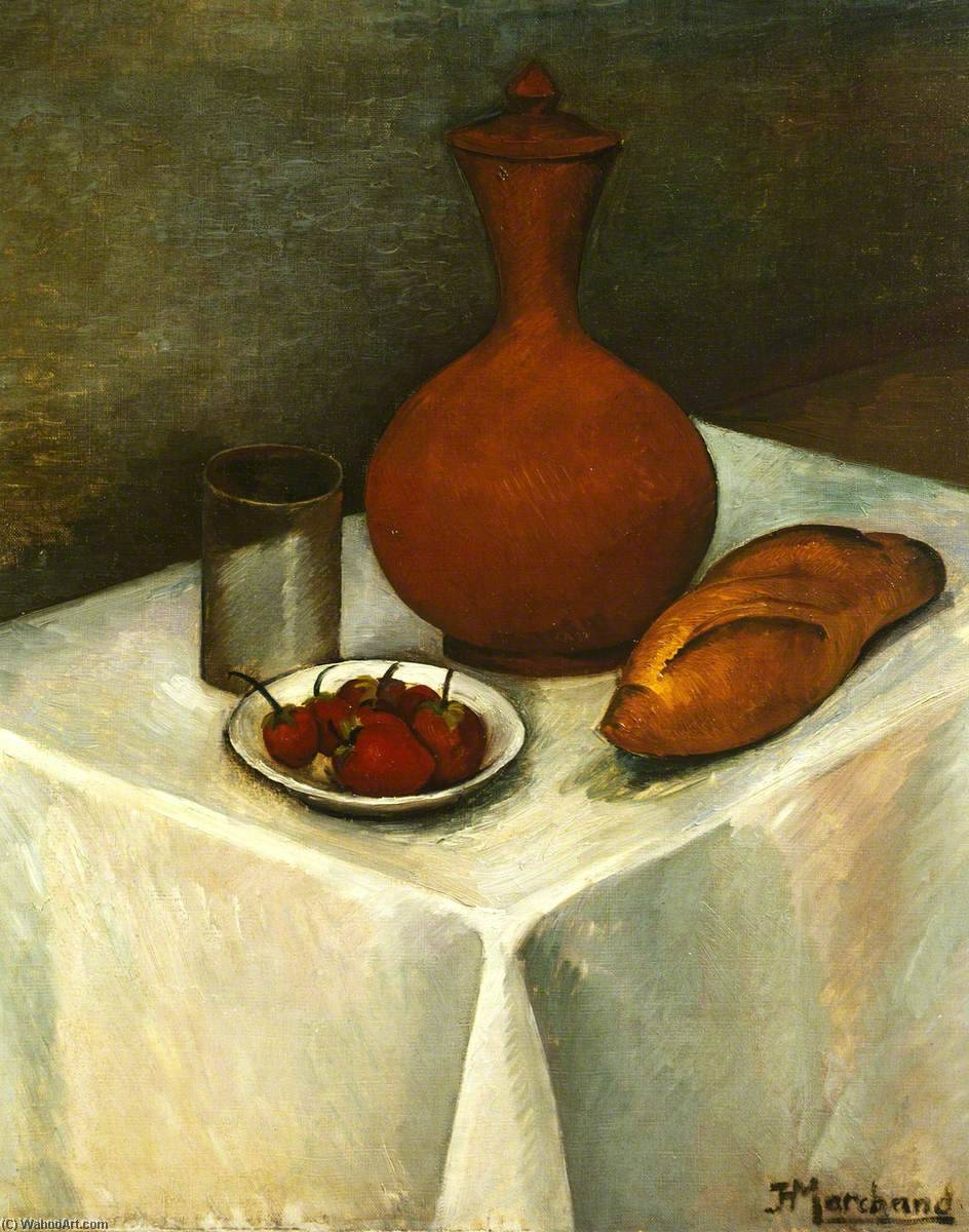 Still Life with Earthenware Jug, Loaf and Strawberries, Oil On Canvas by Jean Hippolyte Marchand (1883-1940)